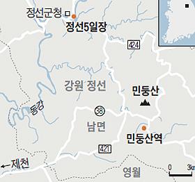 민둥산과 정선5일장 위치 지도