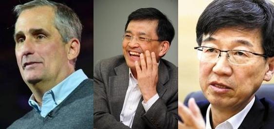 (왼쪽부터) 브라이언 크르자니크 인텔 CEO, 권오현 삼성전자 DS 부문장(부회장), 박성욱 SK하이닉스 대표이사. /조선DB