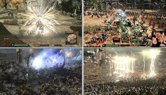 킹덤언더파이어의 실제 게임화면. 왼쪽 위는 MMORPG처럼 캐릭터를 조정하는 화면이고 오른쪽 위는 군단을 컨트롤하는 화면이다. 아래 두 이미지는 실제 전쟁이 대규모로 펼쳐지는 화면. /블루사이드 제공