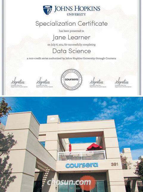 코세라가 서비스 중인 존스홉킨스대 데이터 과학 전문가 과정 수료증(위 사진)과 코세라 본사 전경.