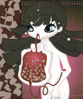 자기 피를 뽑아 수혈된 명품 쥬스를 마시는 소녀를 보라. 그것은 우리가 소비 사회를 살아가는 모습이며, 디지털로 표현된 영혼의 엑스레이다. <Blood>