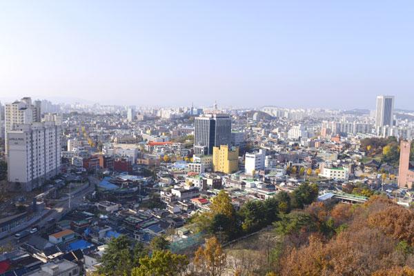사직전망대에서 바라본 광주 시내의 모습
