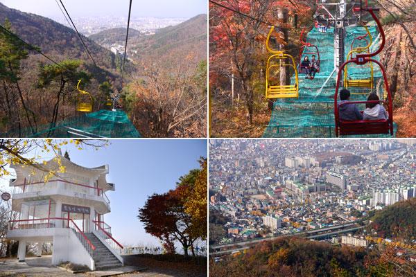 무등산 케이블카(위)와 무등산 팔각정(아래)에서는 광주 시내의 모습을 한눈에 담을 수 있다.