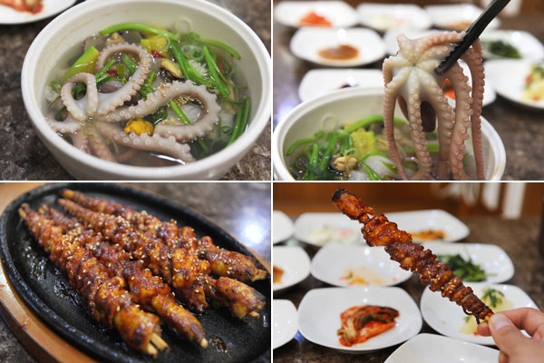 목포의 대표 음식 연포탕(사진 위)과 낙지호롱(사진 아래)