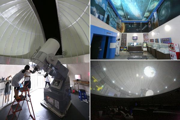 천문대에는 천체투영실?관측실?전시홀?학습코너 등 다양한 체험거리가 준비돼 있다.