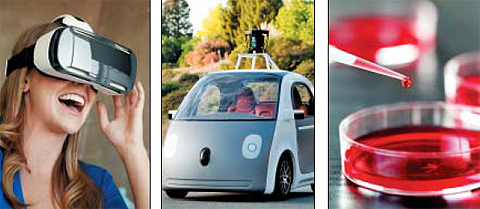 왼쪽부터 가상현실(VR)을 보여주는 삼성전자의 기어VR, 자동차와 전장 부품의 결합인 구글의 자율주행차, 줄기세포 치료제. 올해 과학기술 10대 뉴스의 예상 후보들이다.