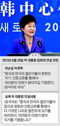 2013년 6월 29일 박 대통령 칭화대 연설 관련 정리 표