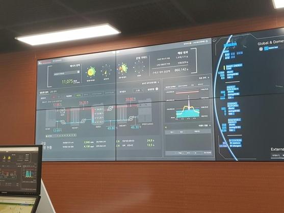KT 에너지 관리서비스인 '에너아이즈'를 이용한 실시간 에너지 관리 모니터링 화면 / 심민관 기자