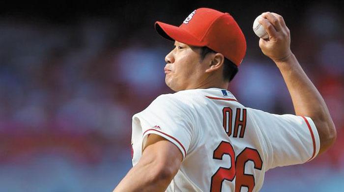 지난 시즌 세인트루이스 카디널스의 마무리 투수로 자리매김한 오승환이 역투하는 모습.