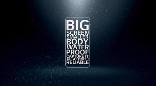 LG전자가 1월 12일 공개한 'G6 동영상' 중 한 장면. 스마트폰 형상 안에 소비자들이 원하는 기능들을 자막으로 표시했다. / LG전자