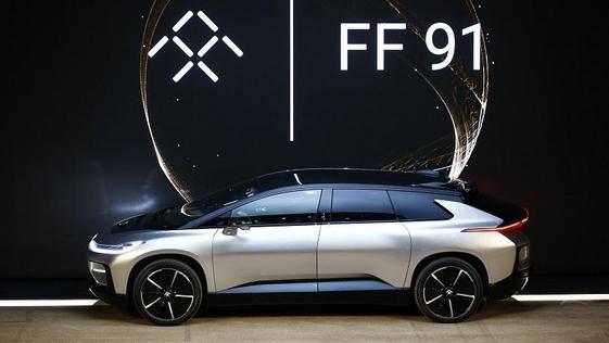 패러데이퓨처가 지난 5일(현지시간) CES 2017에서 공개한 첫 양산형 자동차 FF91의 모습 /박성우 기자