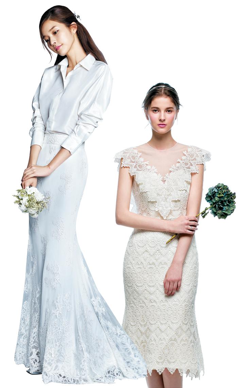 투피스나 원피스, 미니 드레스 등 실용적 스타일의 웨딩드레스를 찾는 신부가 늘고 있다. 레이스나 실크 같은 고급스럽고 전통적인 웨딩드레스 소재를 사용해 결혼식 분위기를 낸다.