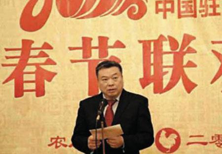 리진쥔(李進軍) 북한 주재 중국 대사가 지난 24일 평양 중국 대사관에서 열린'춘제 리셉션'행사에서 연설을 하고 있다.