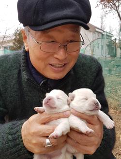 김운회 춘천교구장이 예수님 구유에서 태어난 강아지 '성탄'과 '탄일'을 안고 있다.