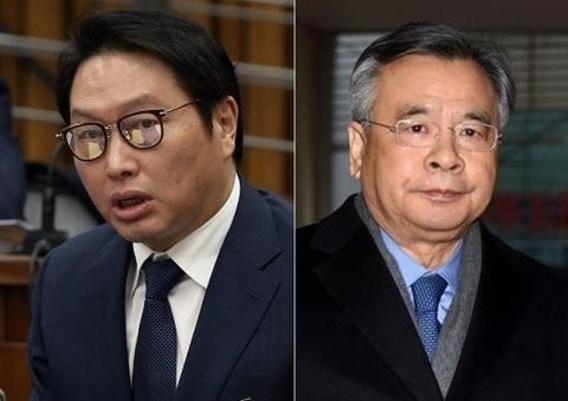 최태원 SK그룹 회장과 박영수 특별검사./조선일보DB