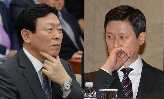 신동빈 롯데그룹 회장(왼쪽), 신동주 전 일본 롯데홀딩스 부회장(오른쪽). / 조선DB
