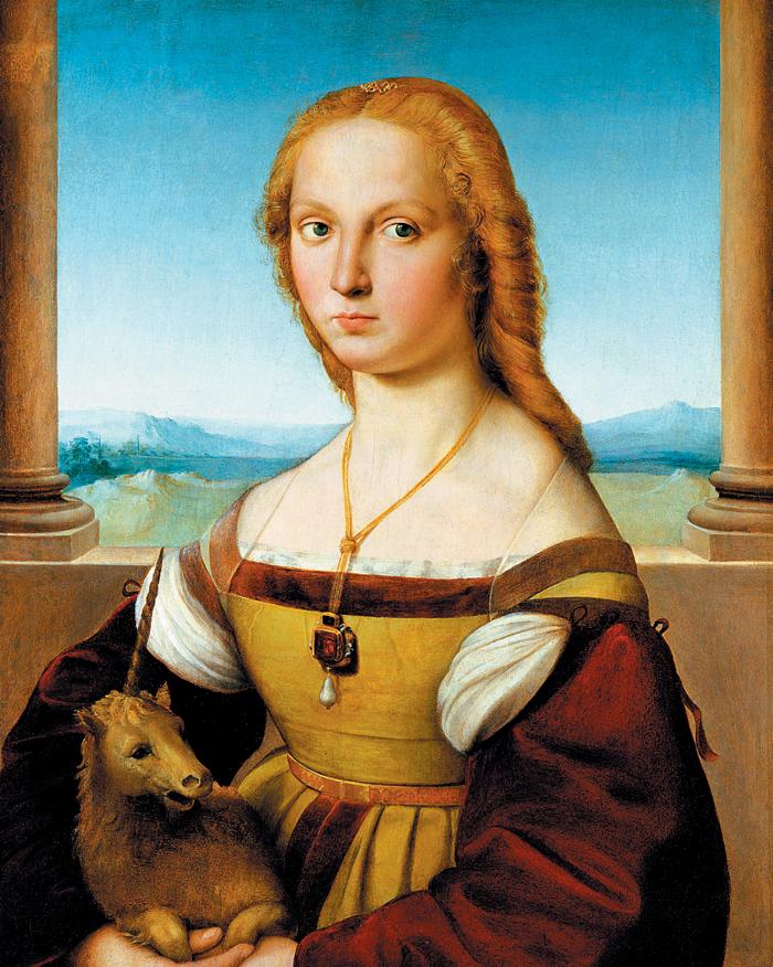 라파엘로의 '유니콘을 안은 여인'(1506). 르네상스 시대의 거장이 그렸던 원작에는 유니콘이 존재하지 않았다. 라파엘로 사후 누군가 여인 품에 애완견을 그려 넣었고, 더 나중에 누군가 또 뿔을 덧붙였다는 사실을 현대 과학이 밝혀냈다. 유니콘은 처녀에게만 접근을 허락한다는 전설이 있다. 은유와 상징 없는 여인의 초상은 아무리 라파엘로 그림이라도 범작의 하나일 뿐. 그림값 추락으로 이어졌음은 물론이다.
