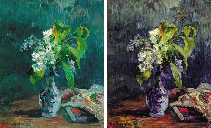 폴 고갱의 라일락(1885). 오른쪽은 작자 미상의 '라일락' 모작.