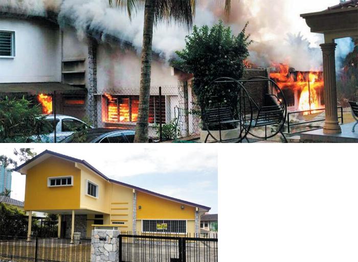 """김정남이 머물던 집, 2014년 의문의 화재 - 김정남이 과거 말레이시아 방문 때 종종 머물던 쿠알라룸푸르 시내의 2층 집이 2014년 2월 의문의 화재로 불타는 모습(위 사진). 주민들은 """"당시 김정남으로 추정되는 남성 등 북한 가족 5명이 구조됐는데, 20여m 거리의 북한 대사관에서는 아무 조치도 안 취했다""""고 전했다. 당시는 김정남 후견인인 장성택이 처형된 지 두 달여 지난 시점이다. 작은 사진은 현재 모습."""