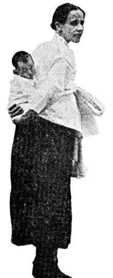 14명의 한국 어린이를 입양해 키웠던 서서평 선교사가 막내로 입양한 아들 요셉을 업은 모습.