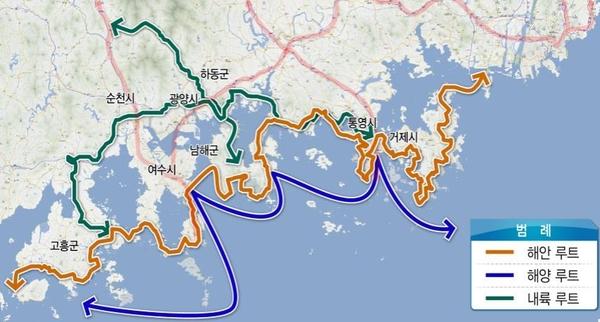 정부가 10년 프로젝트로 조성할 계획인 남해안 해안-해양-내륙루트. / 국토교통부 제공