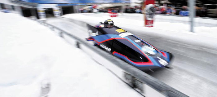 지난 18일 독일 쾨닉세에서 열린 세계선수권 대회에서 주행하고 있는 원윤종·서영우의 모습.