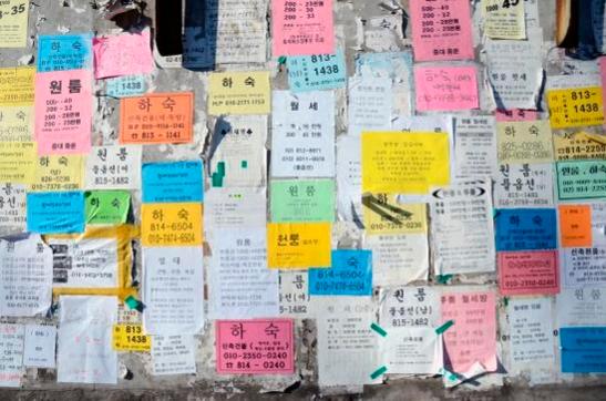 대학가 골목벽에 세입자를 찾는 광고지가 붙어있다. /조선일보 DB