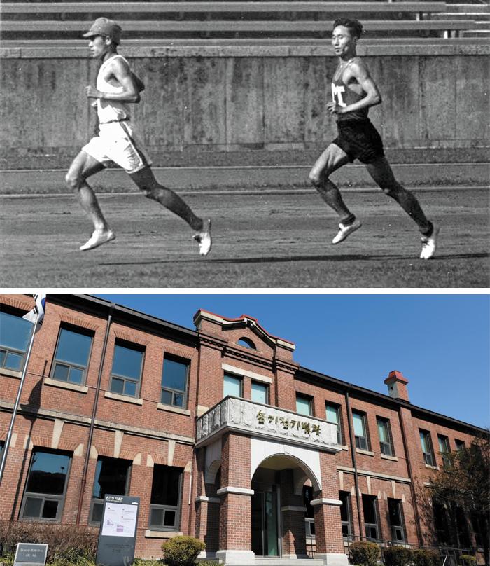 1936년 6월 베를린 올림픽을 앞두고 독일 현지에서 적응 훈련 중인 손기정(왼쪽)과 남승룡. 8월 열린 마라톤 경기에서 금메달과 동메달을 목에 건 이들은 일제 치하의 조선인들에게 큰 자긍심을 안겼다. 서울시는 중구 만리동에 있는 손기정기념관(아래 사진) 등 체육공원을 리모델링해 두 선수를 함께 기리는 공간으로 조성할 계획이다.