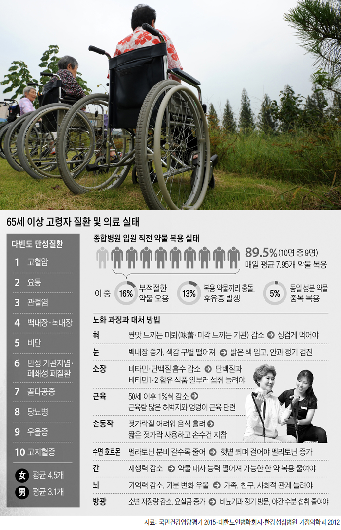 65세 이상 고령자 질환 및 의료 실태 그래프