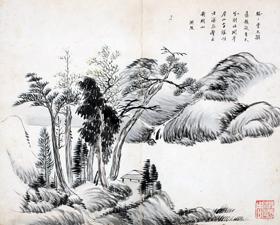다산 정약용이 지은 칠언절구 한시가 들어 있는 산수도. 오른쪽 아래에 정조의 부마(사위)였던 홍현주의 도장이 찍혀 있다.