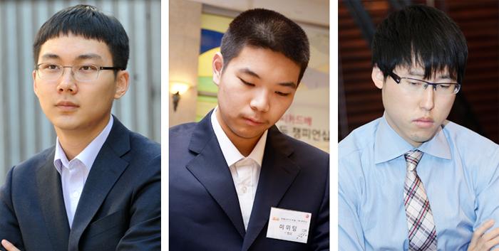 인공지능 딥젠고와 풀리그를 펼칠 한국 1위 박정환, 중국 2위 미위팅, 일본 1위 이야마(왼쪽부터).