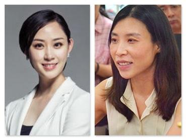세계에서 가장 젊은 흙수저 여성 부호로 꼽힌 중국의  우옌 한딩위요우인터넷 회장(왼쪽)과 천샤오잉 선퉁택배 회장 /바이두