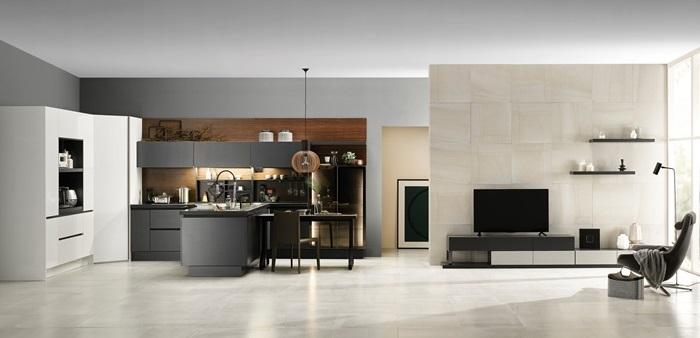 LDK 시스템 패키지는 주방·다이닝 공간을 거실과 연결해 온 가족이 어울려 휴식과 소통을 취할 수 있게 돕는다.