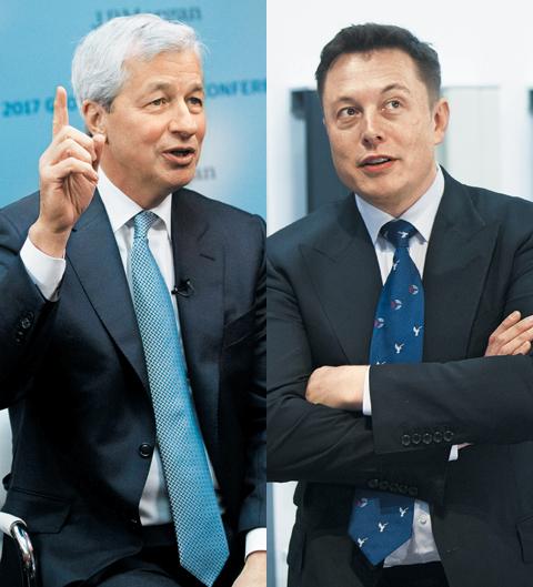제이미 다이먼 JP모건체이스 회장(왼쪽)과 일론 머스크 테슬라 CEO는 몸에 꼭 맞는 슈트 차림을 선보여 여러 패션지에 등장하는 경영자들이다.