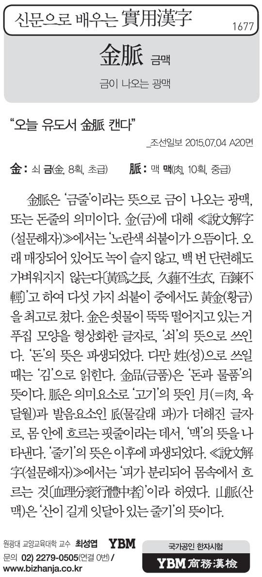 [신문으로 배우는 실용한자] 금맥(金脈)