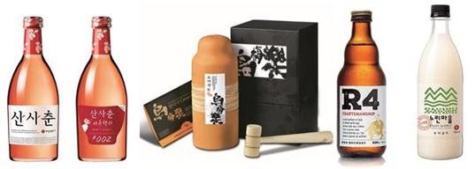배상면주가의 주요 제품들. 사진 왼쪽부터 산사춘, 오매락(증류주), R4(라이스 비어), 느린마을(막걸리)/ 배상면주가 제공