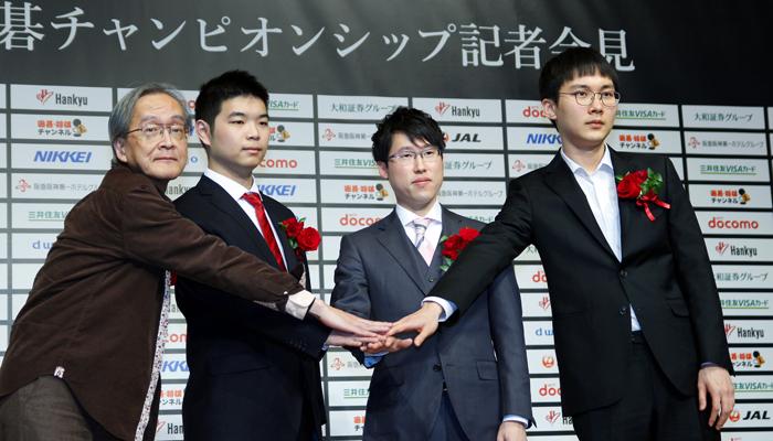 '출전 선수' 4명이 함께 자리해 선전을 다짐했다. (맨 왼쪽부터) 딥젠고 제작자인 가토 히데키, 미위팅, 이야마, 박정환.