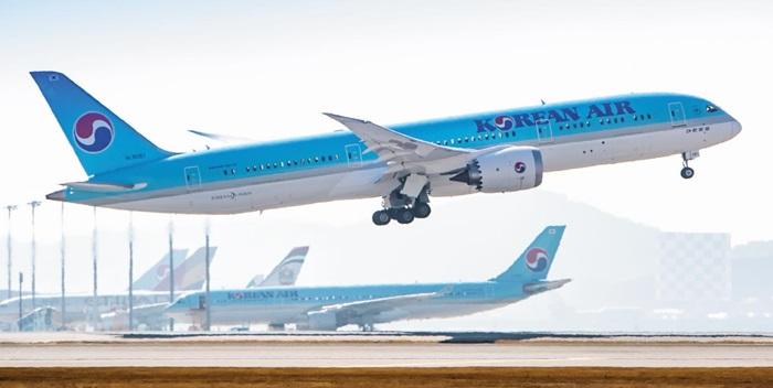 대한항공이 국내 최초로 도입한 보잉 787-9. 기내 기압과 습도가 경쟁 기종보다 지상에 가까워 장거리 비행 피로를 줄여준다