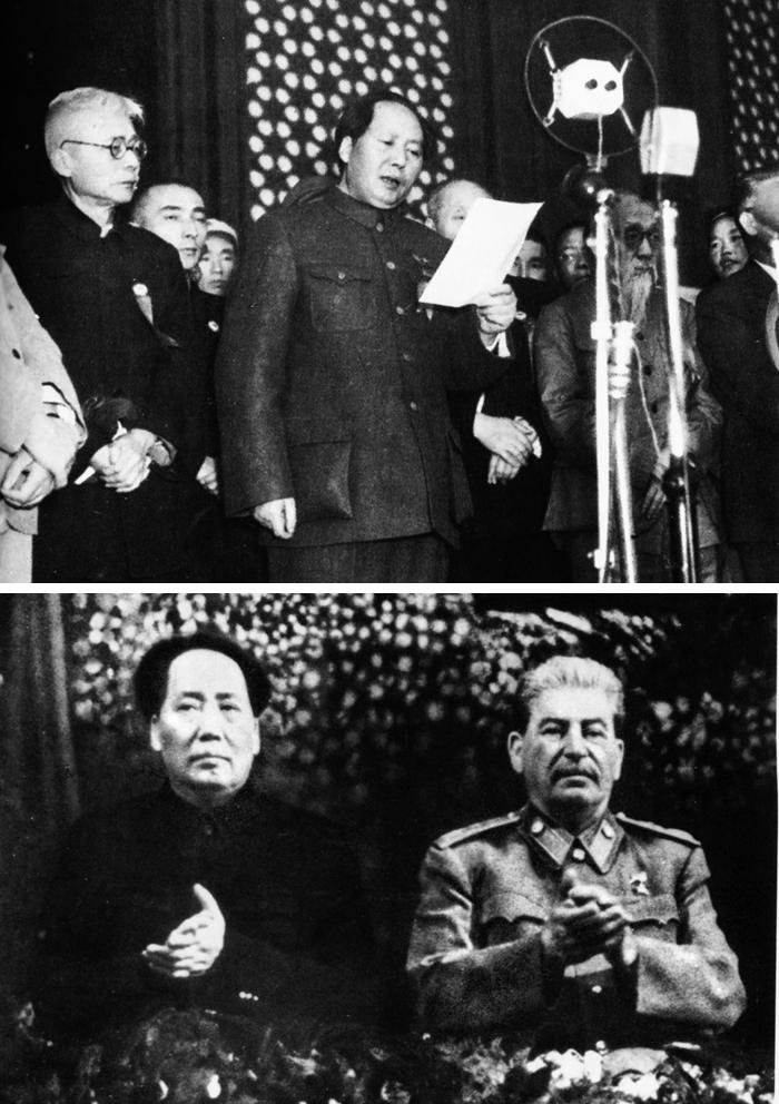 마오쩌둥은 1949년 10월 1일 중화인민공화국 수립 선포(위 사진) 두 달 만에 스탈린의 70회 생일을 축하하기 위해 모스크바로 달려갔다. 아래 사진은 마오(왼쪽)와 스탈린이 그해 12월 21일 회동하는 모습. 이 책의 저자 알렉산더 판초프는 당시 마오가 스탈린의 지시를 충실히 수행하는 '학생'과 같았다고 말한다.