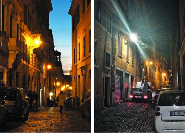 분위기 달라진 밤거리 이탈리아 로마 거리 가로등을 노란색 나트륨등(燈·왼쪽 사진) 대신 비용 절감을 위해 백색 LED 등(오른쪽 사진)으로 교체하자 로마 특유의 낭만을 잃고 있다는 비판이 일고 있다.