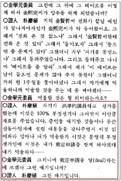 ▶출처: 1997년 4월21일 '한보사건 국정조사특별위원회'의 속기록
