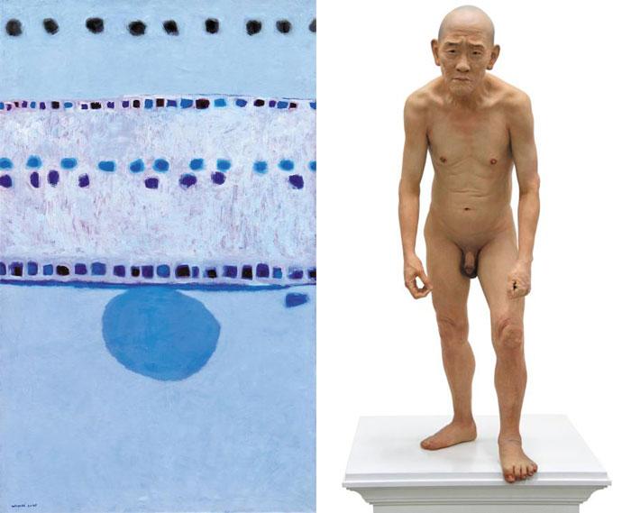 (왼쪽)13억원으로 국립현대미술관 역대 최고가 소장품이 된 김환기의'새벽 #3'.