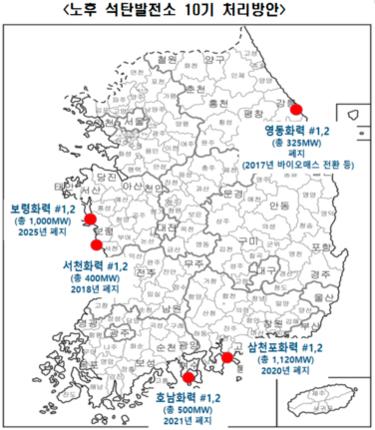 전국 노후화력 발전소 폐지계획./산업부 제공
