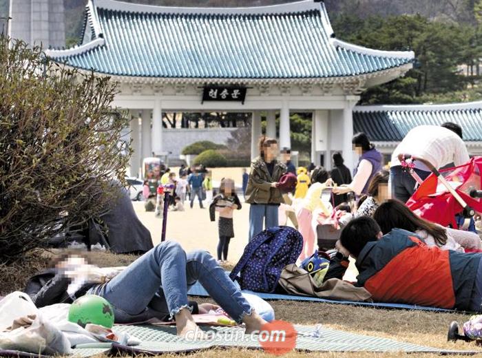 9일 오후 서울 동작구 국립서울현충원 잔디밭에 봄나들이를 나온 시민들이 돗자리를 깔고 드러누워 있다. 벚꽃 축제 중인 현충원을 찾은 일부 방문객은 술을 마시며 떠들어 추모객의 눈살을 찌푸리게 했다.