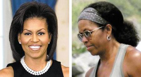 미셸 오바마가 퍼스트레이디 시절 유지했던 직모 헤어스타일(왼쪽), 흑인 특유의 곱슬머리.