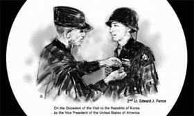 '훈장받는 펜스 부친' 새긴 고려백자 - 황교안 대통령 권한대행이 17일 한국을 방문한 마이크 펜스 미국 부통령에게 선물한 고려 백자 접시. 접시에는 펜스 부통령의 부친인 고(故) 에드워드 펜스 소위가 6·25 전쟁에 참가한 이후 미국 정부로부터 동성 훈장(Bronze Star Medal)을 수여받는 사진이 새겨져 있다.
