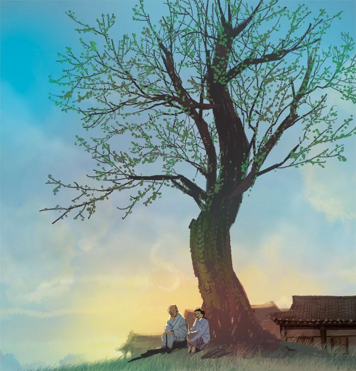 [김민철의 꽃이야기] 성불사 팽나무 그늘 아래