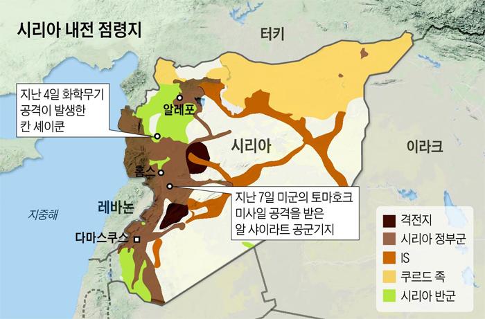 시리아 내전 점령지 지도