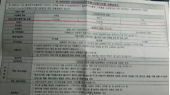 2016년 8월 2일 조선비즈가 입수한 KT 올레폰안심플랜 상품설명서. 부가세가 포함된 금액을 명시하면서 부가세에 대한 설명이 빠져있다. / 심민관 기자