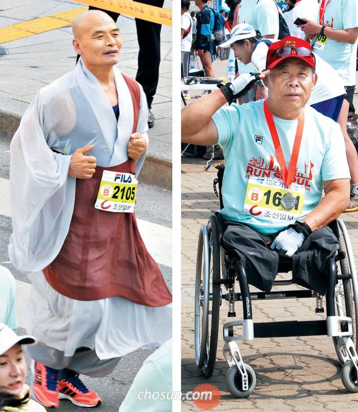 승복을 입고 뛴 창원 성불사 주지 승지 스님(왼쪽)과 베트남전 당시 두 다리를 잃은 김윤근(오른쪽)씨.
